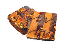Brownie cake on white background Royalty Free Stock Photography