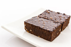 Brownie cake on white background. Royalty Free Stock Image