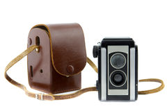 Brownie camera and camera bag Stock Photo