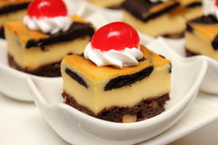Brownie cheese cake on white cup Stock Photography