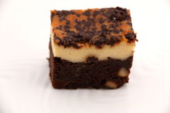 Brownie Cheese cake on a white plate. Stock Photography