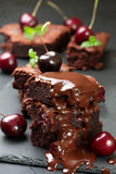 Brownie with cherries and with chocolate cream Royalty Free Stock Photos