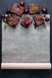 Brownie with cherries  (top view) Stock Photo