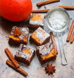 Brownie. Chocolate brownies with pumpkin and cinnamon. A traditional American dessert Royalty Free Stock Image