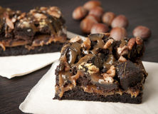 Brownie chocolate cake with nuts stock images