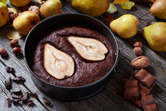 Brownie chocolate cake with pear autumn homemade baked pastry dessert gourmet food Stock Photography