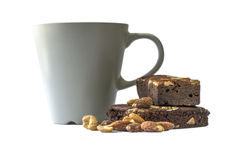 Brownie. Chocolate brownie with coffee, isolated on white background Royalty Free Stock Photography