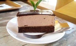 Brownie Chocolate Cream Cake Royaltyfria Foton