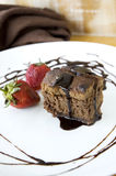 Brownie with chocolate sauce Stock Images