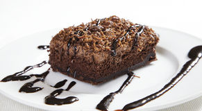 Brownie with chocolate topping Stock Image