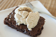Brownie with Cinnamon Ice Cream Stock Photo