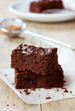 Brownie, closeup chocolate cake Stock Images