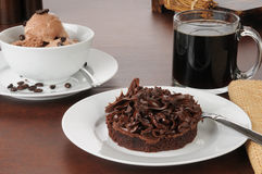 Brownie with coffee flavored ice cream Royalty Free Stock Photo