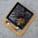 Brownie con helado Foto de archivo