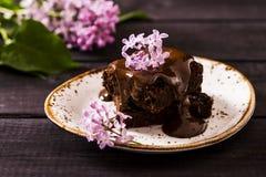 Brownie con il ribes nero Fotografia Stock Libera da Diritti