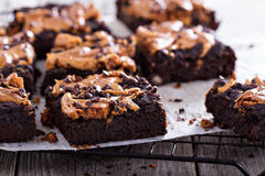 Brownie con mantequilla de cacahuete Imagen de archivo libre de regalías
