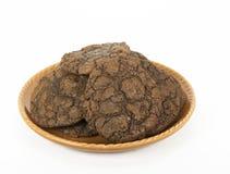 Brownie Cookies caseiro em uma placa alaranjada Imagens de Stock Royalty Free