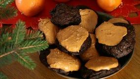 Brownie Cookies With Peanut Butter överkant lager videofilmer