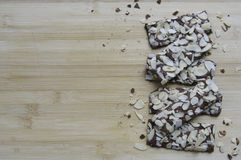 Brownie crackers. On wooden background Royalty Free Stock Photos