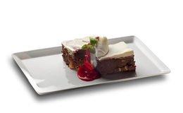 Brownie with cream Royalty Free Stock Photography