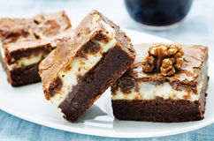 Brownie with cream cheese Royalty Free Stock Photo