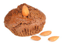 Brownie Cupcake with Almonds Isolated on White Background Royalty Free Stock Image