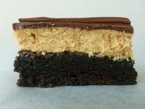 Brownie da manteiga de amendoim do chocolate Fotos de Stock
