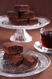 'brownie' de chocolat photos stock