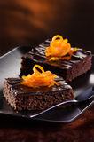 'brownie' de chocolat Photo stock