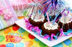 'brownie' de fête d'anniversaire Photographie stock