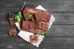 Brownie de la torta de chocolate Imagen de archivo