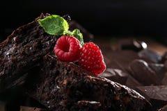 Brownie del chocolate adornado con la frambuesa Imagenes de archivo
