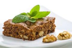 Brownie del chocolate caliente con las nueces y la vainilla Foto de archivo