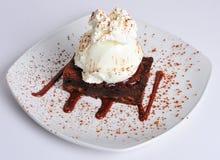 Brownie del chocolate con helado Foto de archivo libre de regalías