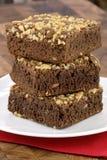 Brownie del chocolate con los cacahuetes agrietados en tapa Foto de archivo libre de regalías
