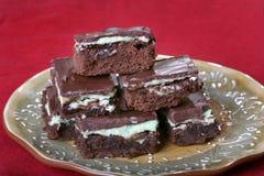 Brownie del chocolate de la menta Imágenes de archivo libres de regalías