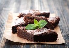 Brownie del chocolate de la torta Fotografía de archivo
