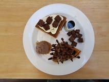 brownie del cioccolato con cioccolata bianca Fotografie Stock Libere da Diritti
