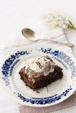Brownie del cioccolato con il gelato sulla parte superiore Immagini Stock Libere da Diritti