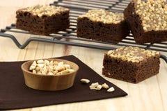 Brownie del cioccolato con le arachidi incrinate sulla parte superiore Immagine Stock Libera da Diritti