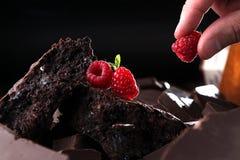 Brownie del cioccolato decorato con il lampone Fotografia Stock Libera da Diritti