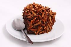 Brownie del cioccolato su priorità bassa bianca Fotografia Stock Libera da Diritti