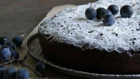 Brownie del dolce di cioccolato coperto generoso di zucchero in polvere che si trova alla moda accanto alle bacche blu stock footage