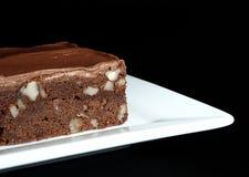 Brownie del fondente con la glassa del cioccolato Immagine Stock Libera da Diritti