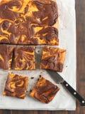 Brownie del remolino de la calabaza Foto de archivo