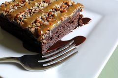 Brownie deliciosa do caramelo foto de stock royalty free