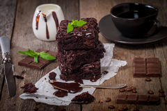 Brownie deliciosa do chocolate imagens de stock royalty free