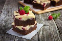 Brownie della torta di formaggio del lampone Fotografia Stock Libera da Diritti