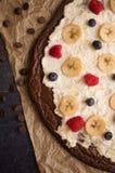 Brownie Dessert Pizza Stockbilder