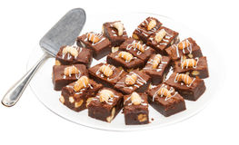 Brownie dessert on a white plate Stock Image
